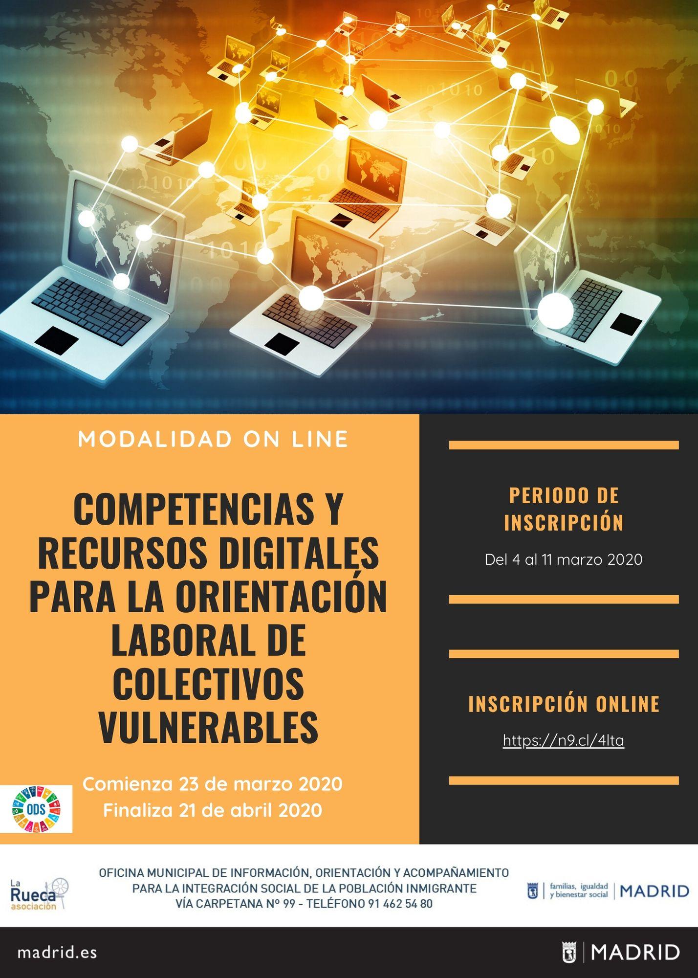 """NUEVO CURSO ONLINE: """"COMPETENCIAS Y RECURSOS DIGITALES PARA LA ORIENTACIÓN LABORAL DE COLECTIVOS VULNERABLES"""""""